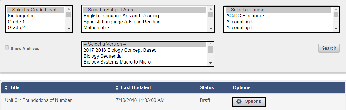 f421f97dea ... list of customized content is displayed along with search filters and  an Options button that provides a variety of features to help manage your  plans.