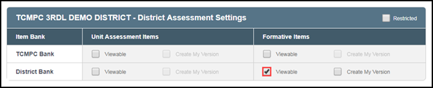 District Bank > Formative Items > Viewable & Create My